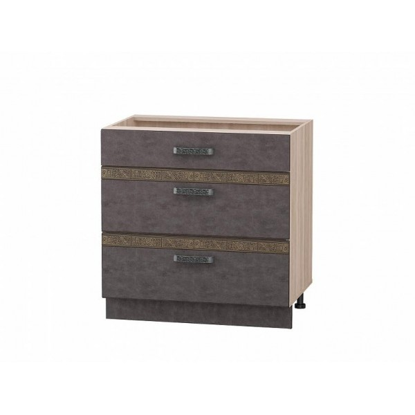 Напольный шкаф (3 ящика с метабоксами) Бруклин 101.67