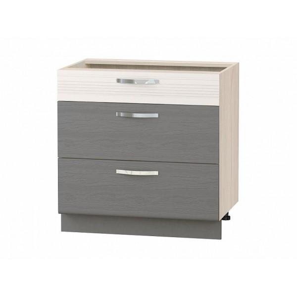 Напольный шкаф (3 ящика с доводчиком Titusoft) Графит 43