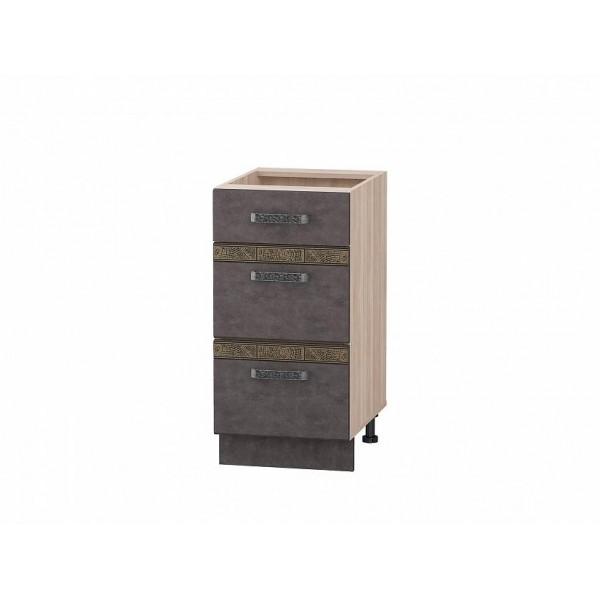 Напольный шкаф (3 ящика с доводчиком Titusoft) Бруклин 60