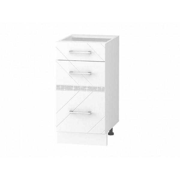 Напольный шкаф (3 ящика с доводчиком Titusoft) Бьянка 60
