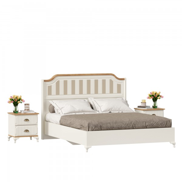 Кровать двуспальная 1600 с тумбами Вилладжио (Алебастр/Дуб Золотой)