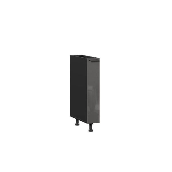 Тумба кухонная 150 бутылочница Герда (Чёрный/Антрацит глянец)