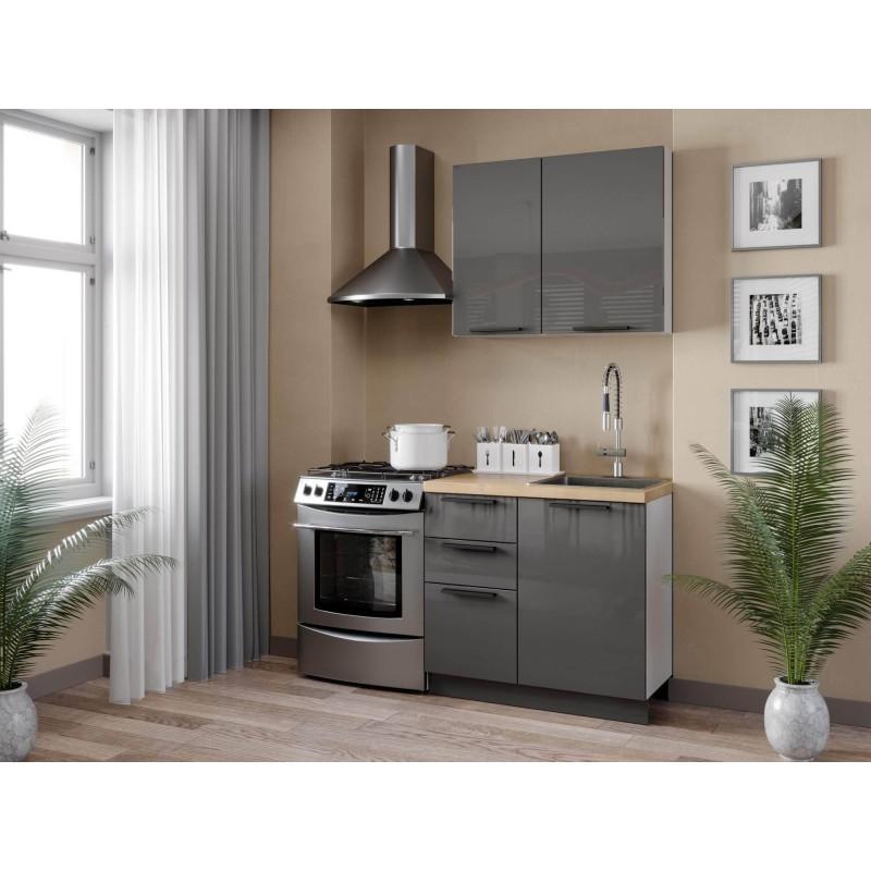 Кухонный гарнитур 1500 Герда (Белый/Антрацит глянец)
