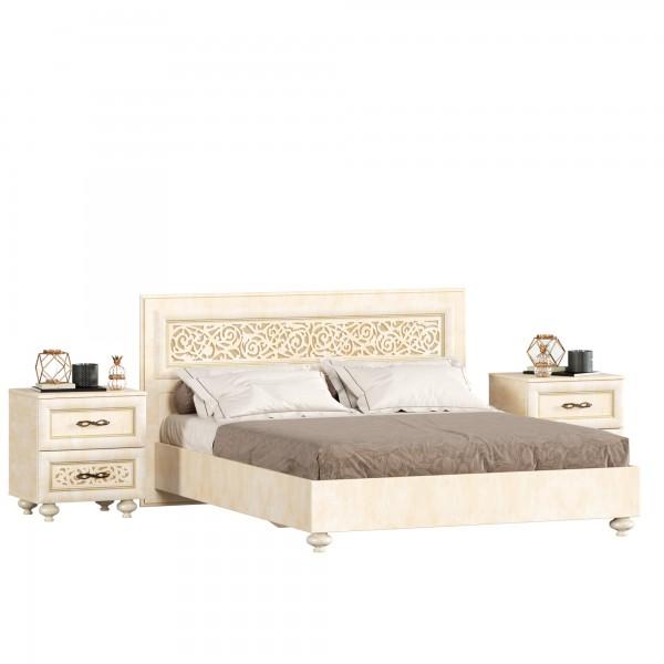 Кровать двуспальная 1600 с тумбами Александрия (Рустика/Кожа Ленто)