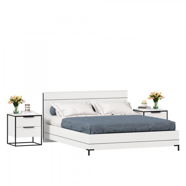 Кровать двуспальная 1600 Норд с тумбами (Белый/Статуарио)