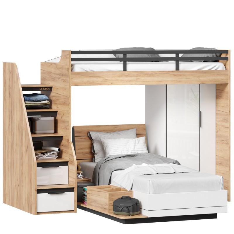 Кровать-чердак, кровать односпальная с тумбой приставной и шкафом для одежды Урбан (правая Дуб Золотой/Белый)