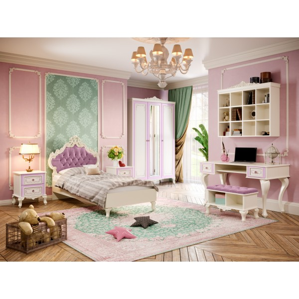 Детская спальня №3 Маркиза (Алебастр/Сиреневый)