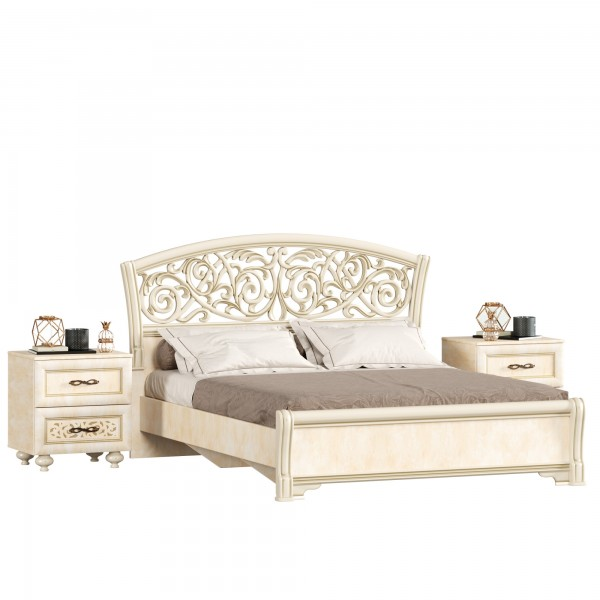 Кровать двуспальная 1600 ППУ с тумбами Александрия (Рустика/Кожа Ленто)