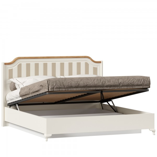 Кровать двуспальная 1800 с подъёмным механизмом Вилладжио (Алебастр/Дуб Золотой)