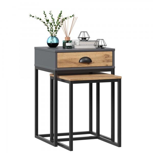 Комплект стол и табурет Лофт (Дуб Вотан/Оникс Серый)