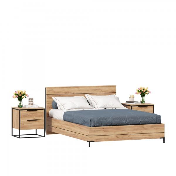 Кровать двуспальная 1400 Норд с тумбами (Дуб Золотой)