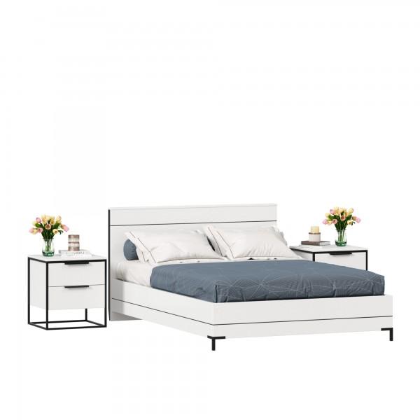 Кровать двуспальная 1400 Норд с тумбами (Белый/Статуарио)