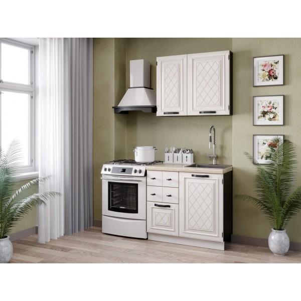 Кухонный гарнитур 1500 Марина (Чёрный/Алебастр)