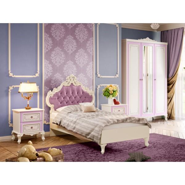 Детская спальня №4 Маркиза (Алебастр/Сиреневый)