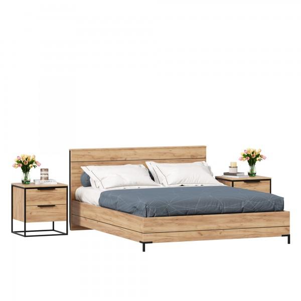 Кровать двуспальная 1600 Норд с тумбами (Дуб Золотой)