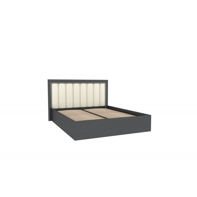 Кровать двуспальная 1600 с подъемным механизмом с мягким изголовьем Соната (Серый/Шоколад/Венге Цаво)