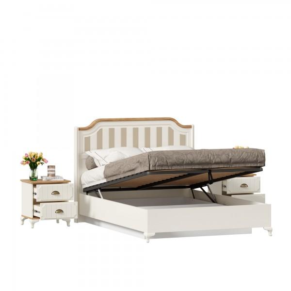 Кровать двуспальная 1400 с подъемным механизмом с тумбами Вилладжио (Алебастр/Дуб Золотой)