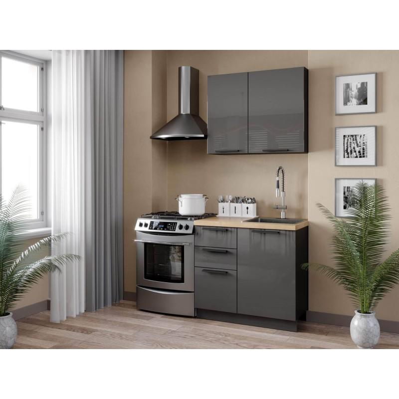 Кухонный гарнитур 1500 Герда (Чёрный/Антрацит глянец)