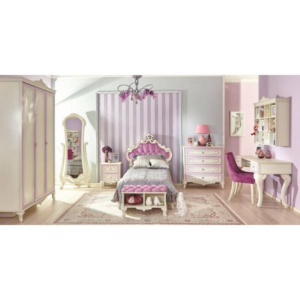 Детская спальня №1 Маркиза (Алебастр/Сиреневый)