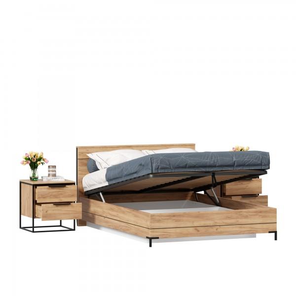Кровать двуспальная 1400 с подъемным механизмом Норд с тумбами (Дуб Золотой)