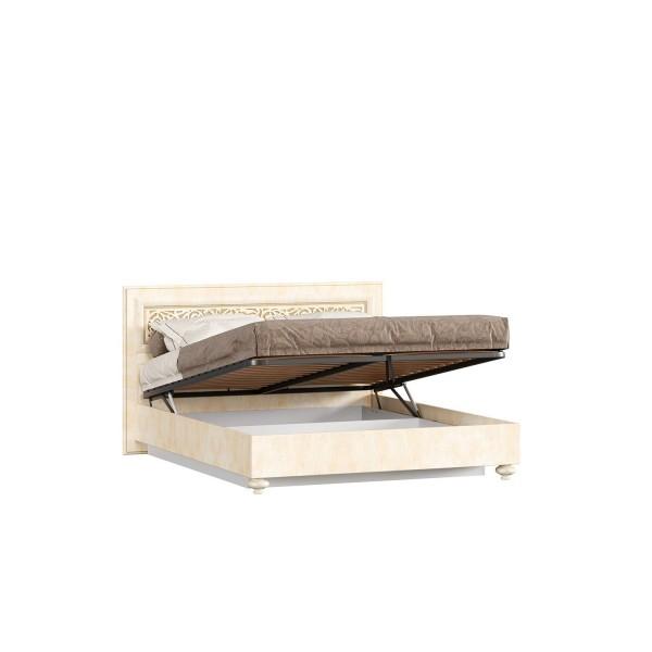Кровать двуспальная 1400 с подъёмным механизмом Александрия (Рустика/Кожа Ленто)