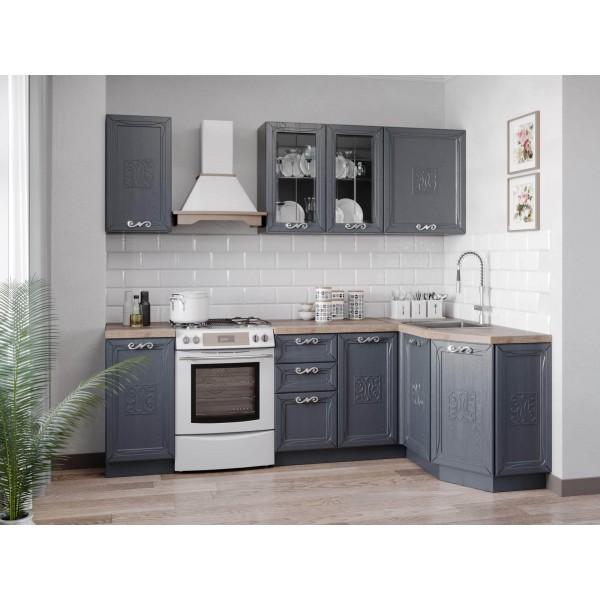 Модульная кухня Бьянка (Чёрный/Дуб фактурный антрацит)
