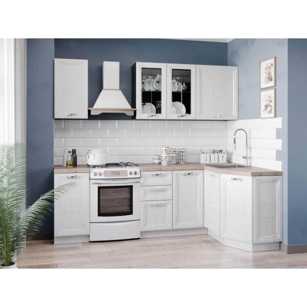 Модульная кухня Бьянка (Чёрный/Дуб фактурный белый)