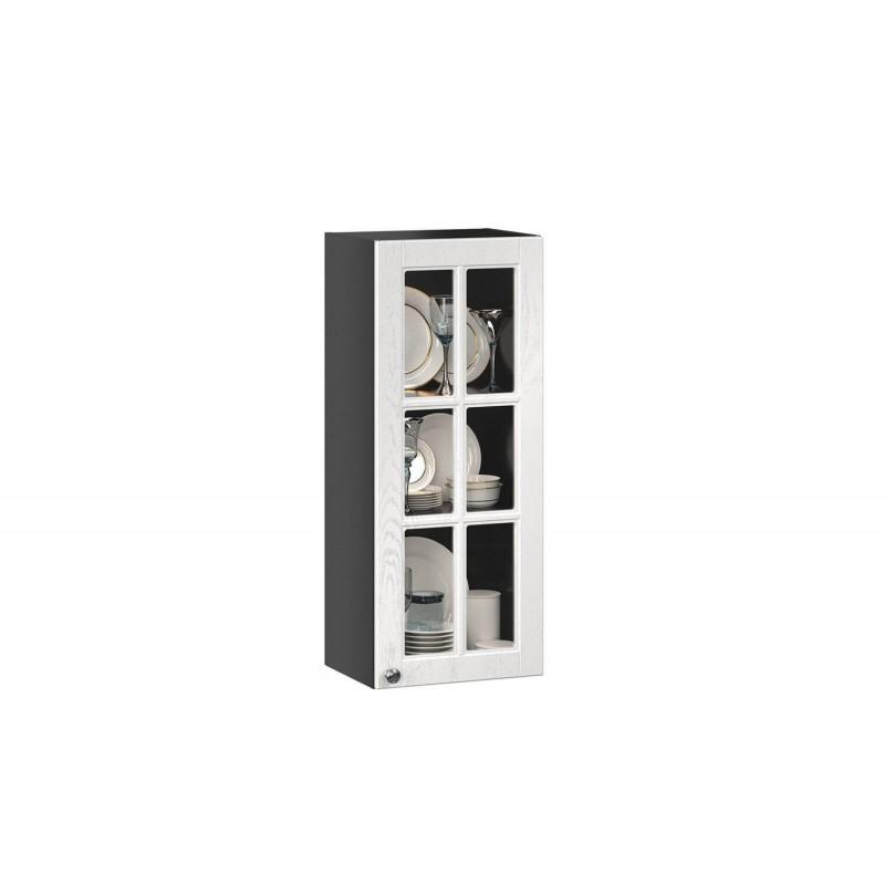 Шкаф кухонный 400 высокий со стеклом Мокка Тип 2 (Чёрный/Дуб фактурный белый)