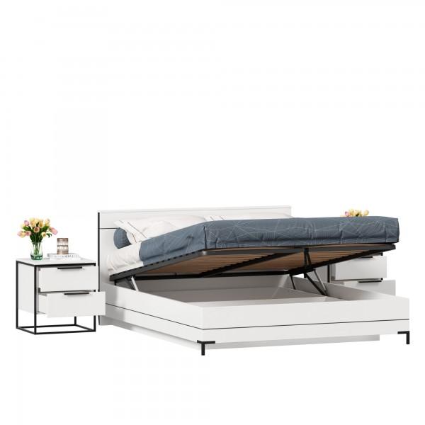 Кровать двуспальная 1600 с подъемным механизмом Норд с тумбами (Белый/Статуарио)
