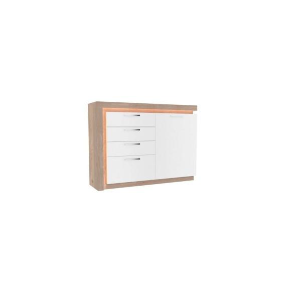 Комод с 4 ящиками и 1 дверью Неон (правый Нельсон/Белый)
