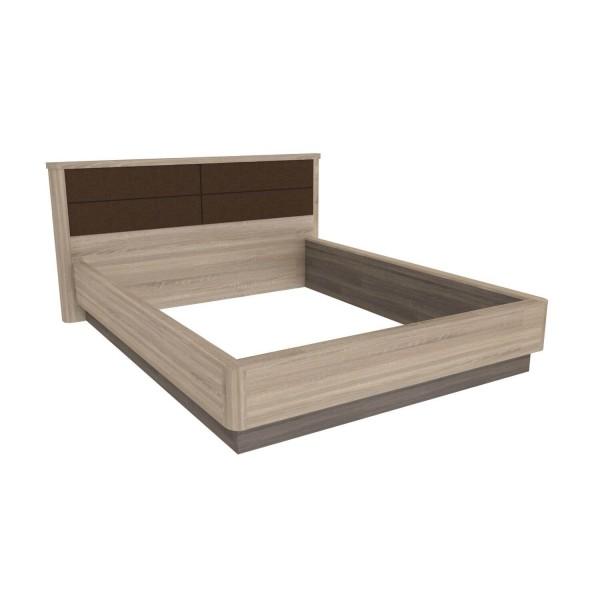 Кровать 1600 с мягким изголовьем без основания Бруна (Сономе эйч темная/Сономе эйч светлая)