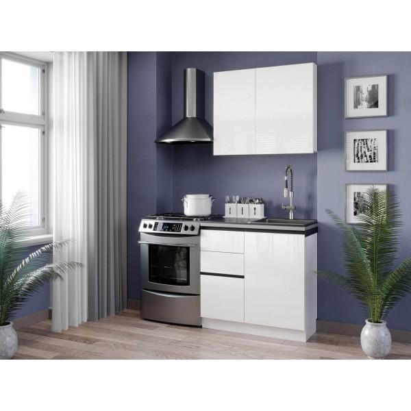 Кухонный гарнитур 1500 Шервуд (Белый/Белый глянец)