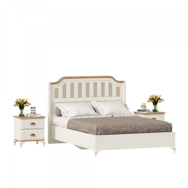 Кровать двуспальная 1400 с тумбами Вилладжио (Алебастр/Дуб Золотой)