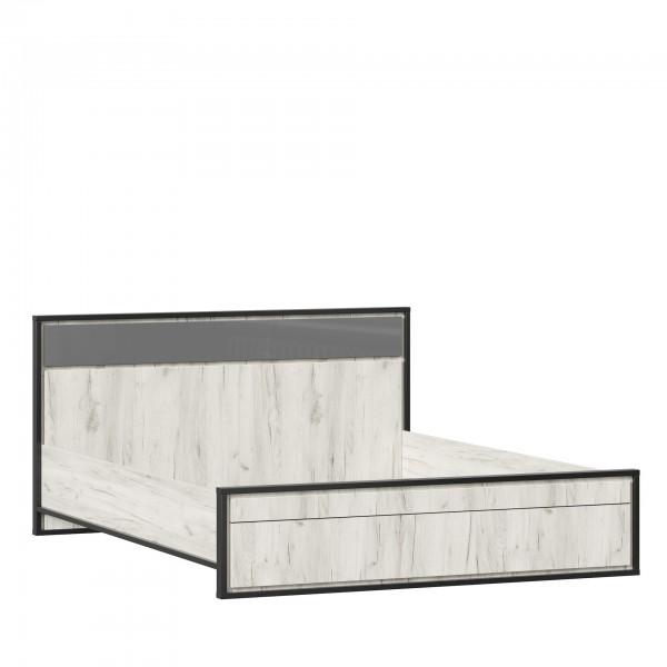 Кровать 1600 (Без основания) Техно (Дуб Крафт белый/Серый шифер)