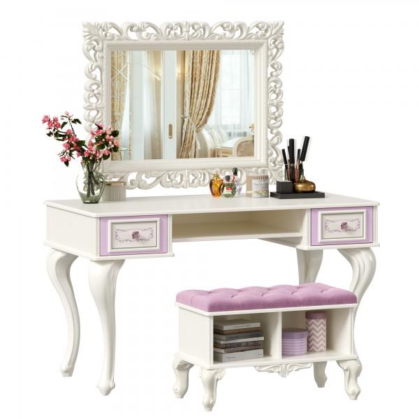 Стол письменный с зеркалом и банкеткой (сиреневый) Маркиза (Алебастр)