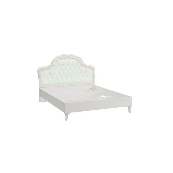 Кровать 1600 с мягким изголовьем без основания Луиза (Алебастр/Мятный)