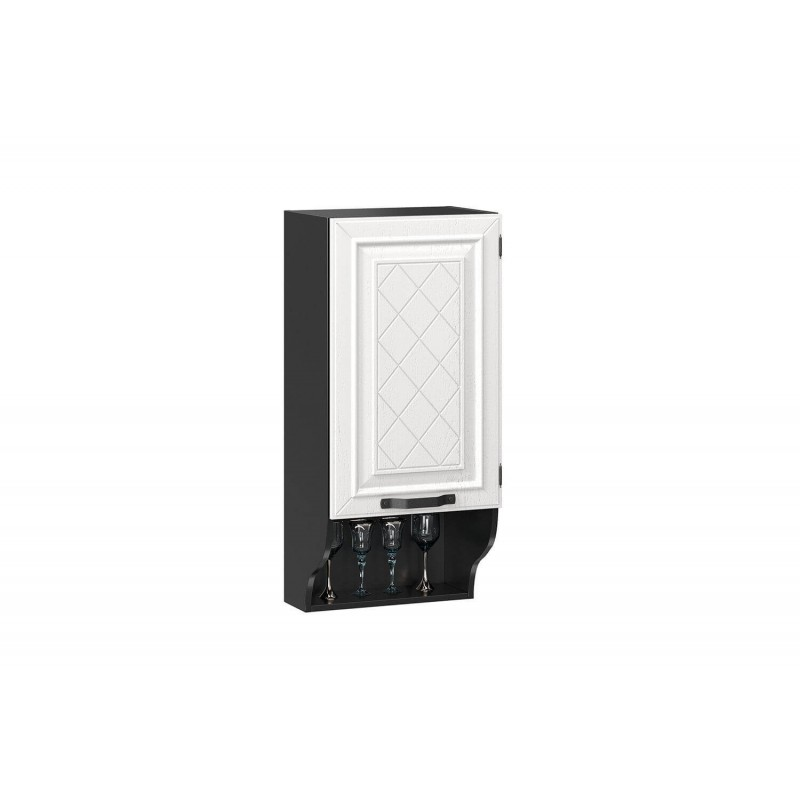 Шкаф кухонный 450 с открытой полкой Марина Тип 1 (Чёрный/Дуб фактурный белый)