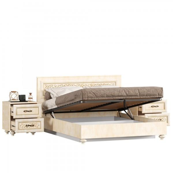 Кровать двуспальная 1600 с подъёмным механизмом с тумбами Александрия (Рустика/Кожа Ленто)