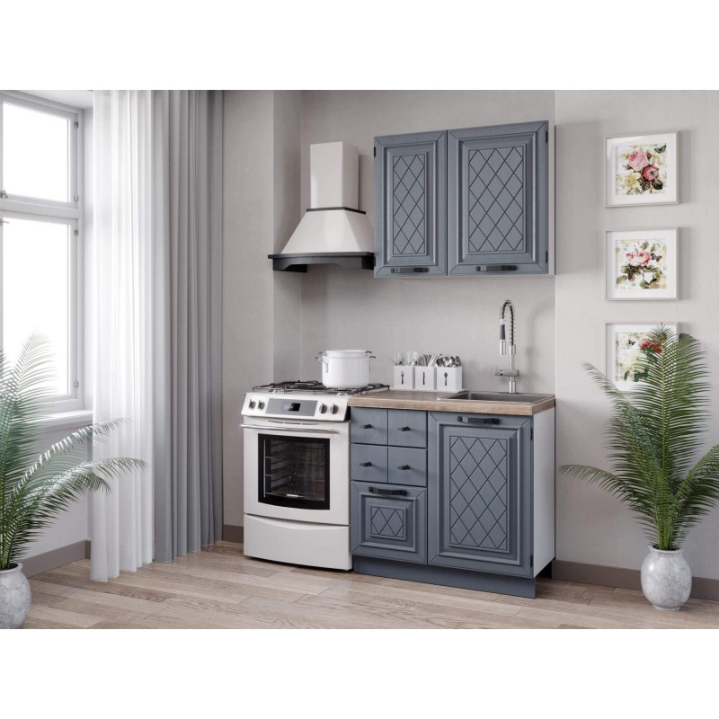 Кухонный гарнитур 1500 Марина (Белый/Дуб фактурный антрацит)