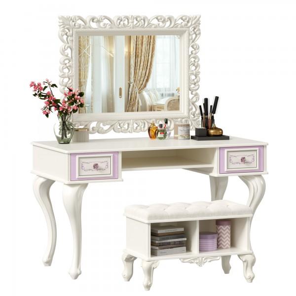 Стол письменный с зеркалом и банкеткой Маркиза (Алебастр)