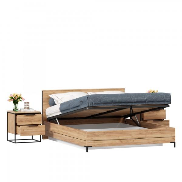 Кровать двуспальная 1600 с подъемным механизмом Норд с тумбами (Дуб Золотой)