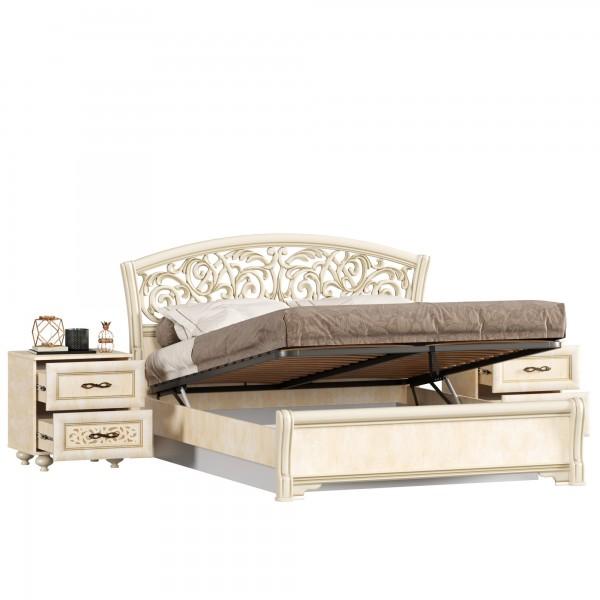 Кровать двуспальная 1600 ППУ с подъёмным механизмом с тумбами Александрия (Рустика/Кожа Ленто)