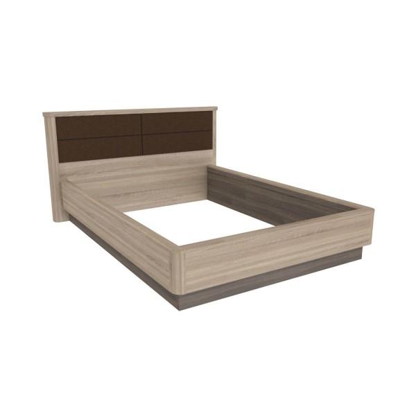 Кровать 1400 с мягким изголовьем без основания Бруна (Сономе эйч темная/Сономе эйч светлая)