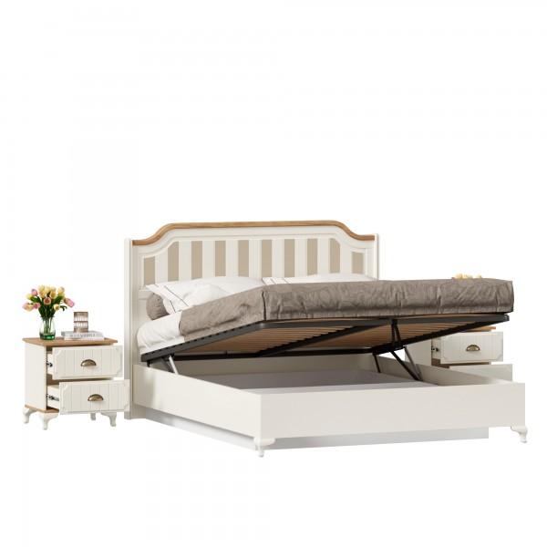 Кровать двуспальная 1600 с подъемным механизмом с тумбами Вилладжио (Алебастр/Дуб Золотой)