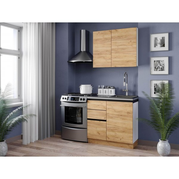 Кухонный гарнитур 1500 Шервуд (Белый/Дуб золотой)