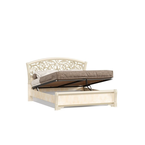 Кровать двуспальная 1400 ППУ с подъёмным механизмом Александрия (Рустика/Кожа Ленто)