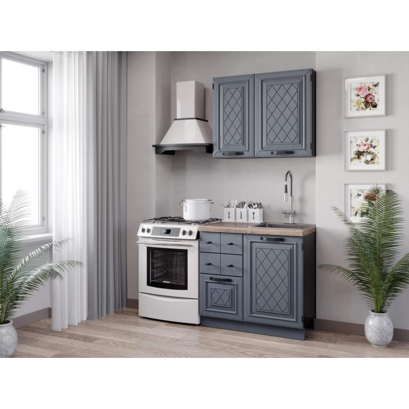 Кухонный гарнитур 1500 Марина (Чёрный/Дуб фактурный антрацит)