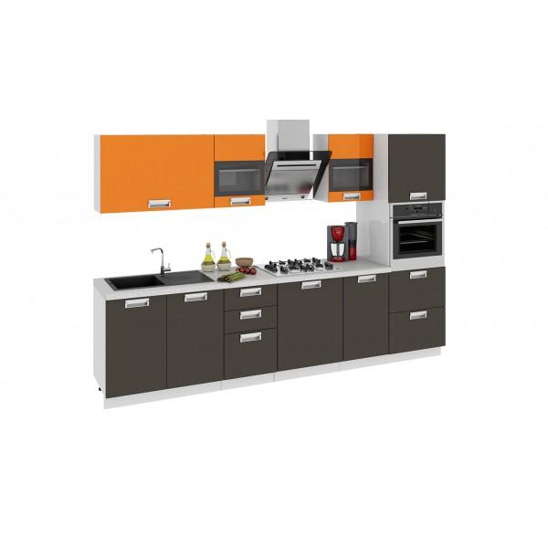 Кухонный гарнитур Бьюти 300 см с пеналом ПБ Оранж/Грэй (ГН60_300_2 ПБ)