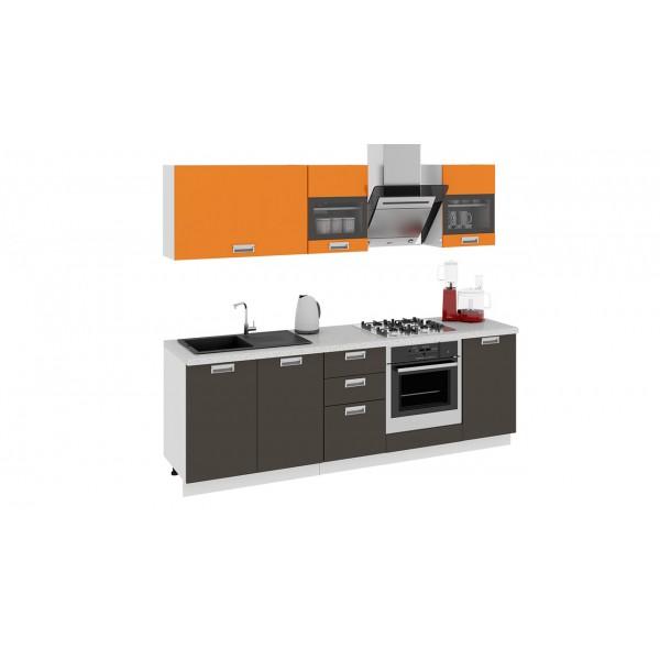 Кухонный гарнитур Бьюти 240 см со шкафом НБ Оранж/Грэй (ГН60_240_1 НБ)
