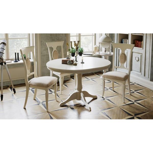 Обеденная группа: стол Торонто Т1 стулья Денвер Тип 1 (Слоновая кость/тк. №43 Золотая)